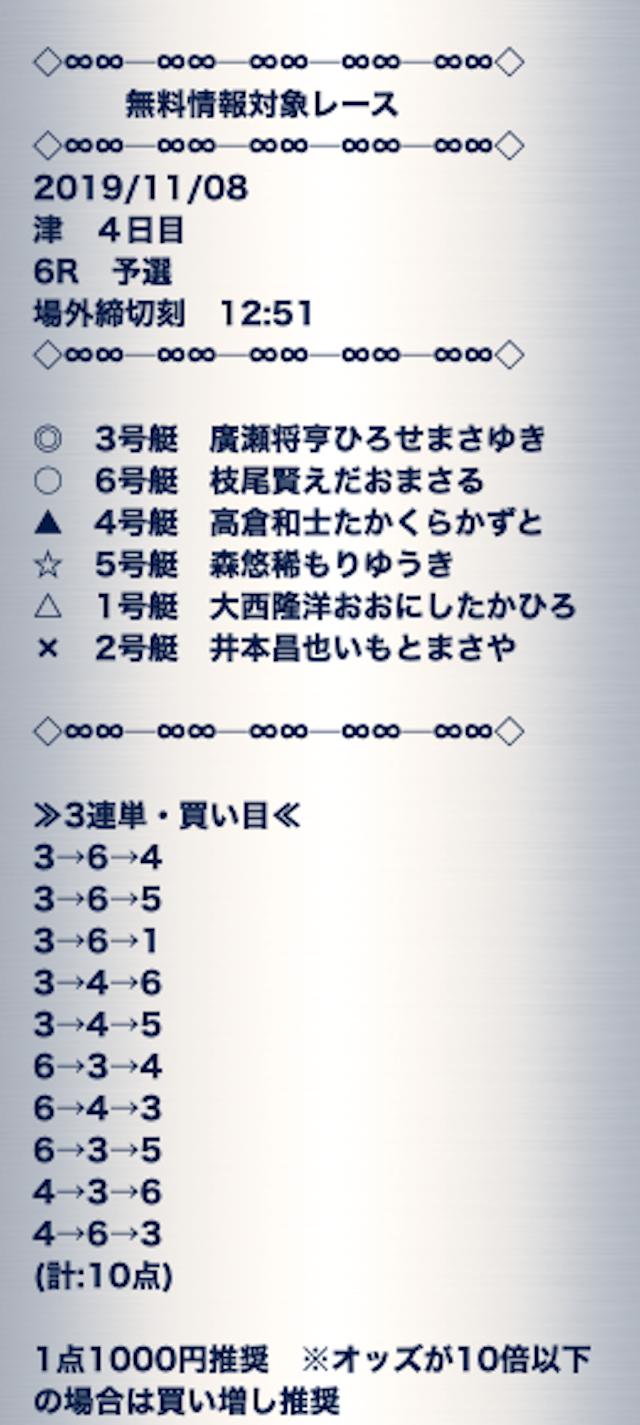 賞金王の無料予想2019年11月8日津6レース買い目画像